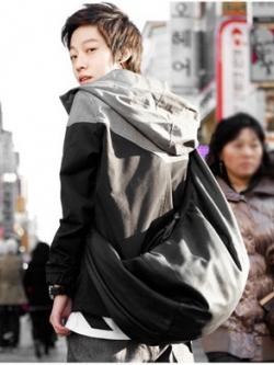 กระเป๋าสะพายเฉียงเกาหลี สีดำ หนัง PU แนวSchoolBags