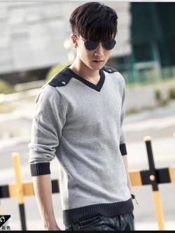 เสื้อยืดแฟชั่น แขนยาว คอVแนวเกาหลี เสริมไหล่ แต่งขอบเสื้อ มี3สี