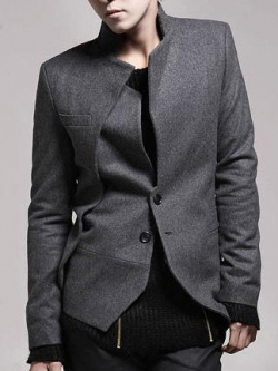 เสื้อสูทแขนยาว ดีไซด์คอเสื้อ ชายเสื้อเฉียง แนวเกาหลี มี2สี