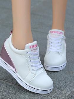 Pre Order รองเท้าแฟชั่นเกาหลีสุดฮิต เพิ่มส้นสูงด้านใน แต่งสีทูโทน มี2สี
