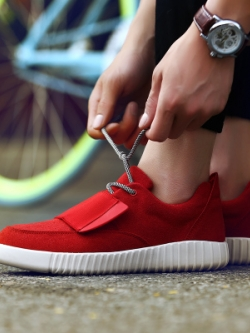 รองเท้าผ้าใบเกาหลี เชือกผูก แต่งขอบ ดีไซส์แถบปิดรองเท้า มี4สี