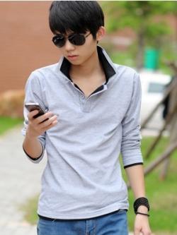 เสื้อโปโลแขนยาวเกาหลี แต่งสีคอปกเสื้อ ดีไซส์เท่ มี5สี