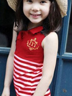 ชุดเดรสสั้นเด็กหญิงเกาหลี แขนกุด แต่งลายขวาง คอปก POLO มี2สี