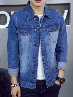 Pre Order เสื้อยีนส์แขนยาวแฟชั่นเกาหลี แต่งกระเป๋าหน้า สีคลาสสิก มี2สี