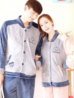 ชุดนอนคู่รักเกาหลี เสื้อแจ็คเก็ตแขนยาว+กางเกงขายาว ผ้ากำมะหยี่หนา อุ่นสบาย