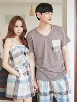 ชุดนอนคู่รักเกาหลี พิมพ์ลายตารางสีฟ้า เสื้อแขนสั้น+กางเกงขาสั้น+เดรสสั้นสายเดี่ยว