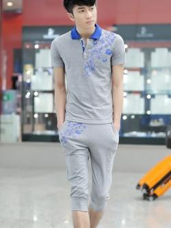 ชุดวอร์มเกาหลีแนวSport สีเทา แต่งคอปกเสื้อ พิมพ์ลายดอกไม้ เสื้อโปโลแขนสั้น+กางเกงขาสั้น