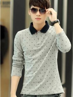 เสื้อโปโลแขนยาวเกาหลี พิมพ์ลายสมอทั้งตัว แต่งคอปกตั้ง มี5สี