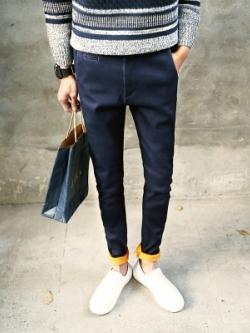 กางเกงยีนส์ขายาวเกาหลี แต่งพับปลายขา ทรง Slim มี2สี