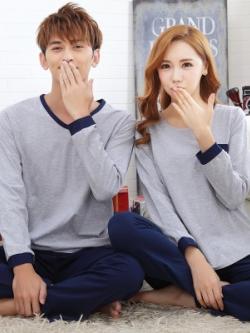 ชุดนอนคู่รักเกาหลี สีเทา/น้ำเงิน แต่งขอบสวย เสื้อแขนยาว+กางเกงขายาว