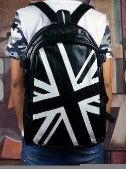 กระเป๋าสะพายหลังเกาหลี หนัง PU สีดำ แต่งลายธงชาติ