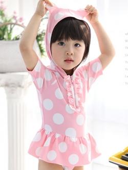 ชุดเด็กเป็นชุดว่ายน้ำหญิง มีฮู้ด+กระโปรง สวยๆ มี3สี