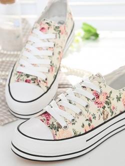 *** พร้อมส่ง *** รองเท้าผ้าใบมัฟฟินพิมพ์ลายดอกไม้ แบบผูกเชือกสไตล์เกาหลี