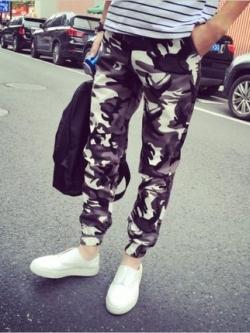 กางเกงขายาวเกาหลี ลายพรางทหาร ทรงฮาเร็ม จั้มปลายขา มี2สี