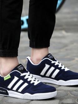รองเท้าผ้าใบเกาหลี แต่งแถบเส้นด้านข้าง ดีไซน์โมเดิร์น มี3สี