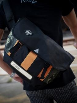 กระเป๋าสะพายเกาหลี สีดำ แนว Sport แต่งลายพราง ดีไซน์สลับสี