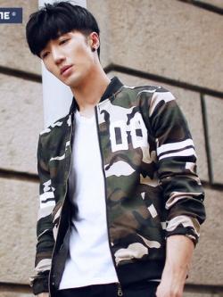 เสื้อแจ็กเก็ตแขนยาวเกาหลี สีเขียวทหาร แต่งลายพราง ดีไซส์ซิบ