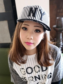 หมวกฮิพฮอพเกาหลี NY ลายเส้นตรง ดีไซส์เท่ <มี3สี>