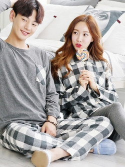 ชุดนอนคู่รักเกาหลี สีเทา แต่งลายสก๊อต แนวอินเทรนด์ เสื้อแขนยาว+กางเกงขายาว