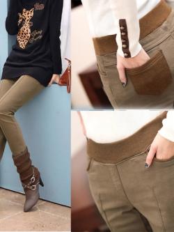 กางเกงสกินนี่ขายาวผ้ากำมะหยี่หนาสไตล์เกาหลี