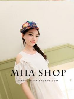 หมวกแฟชั่นแนวเกาหลี ฮิปฮอป สีฟ้าน้ำเงิน พิมพ์ลายกราฟฟิคทั้งหมวก