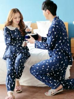 ชุดนอนคู่รักเกาหลี พิมพ์ลายการ์ตูนน่ารัก เสื้อแขนยาว+กางเกงขายาว มี2สี