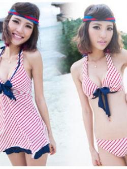 Sale!!【พร้อมส่ง L】SB4004 ชุดว่ายน้ำ บิกินี่ ทูพีช เซ็ท 4 ชิ้น แดงน้ำเงินโดดเด่น