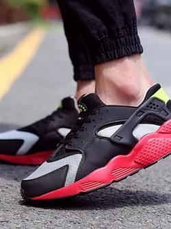 รองเท้าผ้าใบเกาหลี เชือกผูก ดีไซส์ตาข่ายระบายอากาศ แต่งขอบ ทรงหนา มี4สี