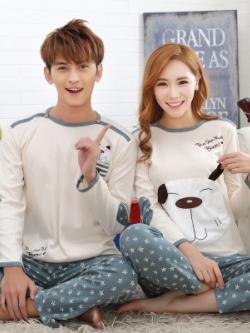 ชุดนอนคู่รักเกาหลี พิมพ์ลายน้องหมา เสื้อแขนยาว+กางเกงขายาว