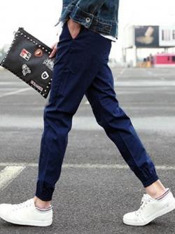 *พร้อมส่ง**กางเกงลำลองขายาว แนวสปอร์ตขาจั้ม สีพื้นคลาสสิค สีน้ำเงินเข้ม ไซส์ L