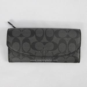 กระเป๋าสตางค์ COACH F52176 SV/GE PEYTON OCELOT SLIM ENVELOPE WALLET W/ POUCH BLACK