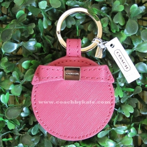 พวงกุญแจ COACH F62504 SV/SY Pink Leather Bow Mirror Key Chain Ring FOB
