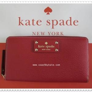 สินค้าอยู่ USA ; กระเป๋าสตางค์ Kate Spade Neda WLRU1153 Wellesley pillboxred(617) Wallet Zip around