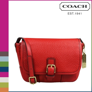 กระเป๋า Coach F31664  B4B/RD Hadley Luxe Grain Leather Field CrossBody Bag สีแดง
