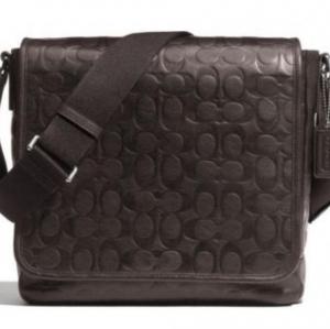 สินค้าอยู่ USA : กระเป๋า COACH Men 71172 SV/BR Heritage Web Leather Embossed C Map Bag