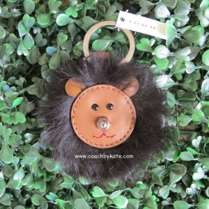 พวงกุญแจ COACH 62975 SV/MC Bear Keyfob Charm Brown Leather Black Fur Bear Head Cute