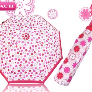 ร่มกันฝน COACH F67843 SVWTM PINK/RED/WHITE FLORAL PRINT UMBRELLA