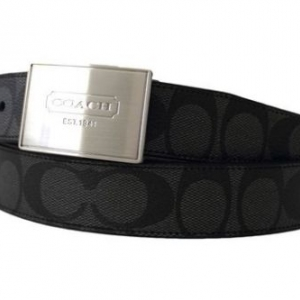 เข็มขัดชาย COACH F66111 SVAOA MEN LOZENGE PLAQUE HERITAGE STRIPE REVERSIBLE BELT Black Silver