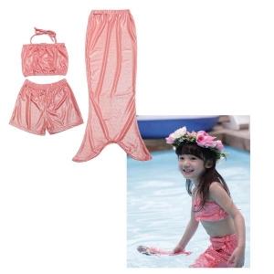 ชุดว่ายน้ำนางเงือก เซ็ต 3 ชิ้น เสื้อ+กางเกงขาสั้น +หาง สีโรสโกล