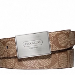 เข็มขัดชาย COACH F66111 SKHBR MEN LOZENGE PLAQUE HERITAGE STRIPE REVERSIBLE BELT Brown Silver