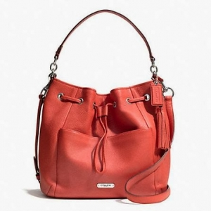 กระเป๋า COACH F27003 SV/RC Avery Pebble Leather Drawstring Shoulder Bag Crossbody