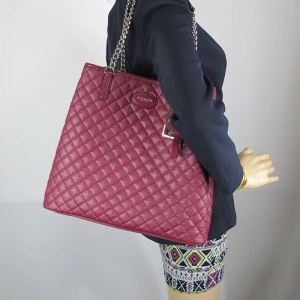 กระเป๋า COACH F32905 SV/CXMetro Quilted Chain Tote Shoulder Bag Claret