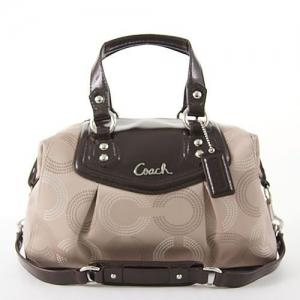 กระเป๋า COACH F20027 B4BOS Ashley Signature Satchel Brown Purse C1