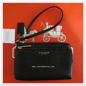 กระเป๋า COACH 51441 B4/BK Brindle Saffiano Leather Double L Zip Wristlet Wallet