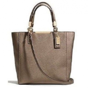 กระเป๋า COACH Saffiano Leather Madison Mini N/S Tote, Light Bronze 29001 RIBRZ