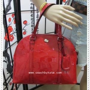 กระเป๋า COACH F32583 SV/RD Peyton Link C Embossed Cora Domed Satchel Bag