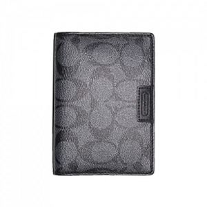 ปกพาสปอร์ต COACH F68667 CQ/BK Men's Heritage Passport Case in Charcoal/Black