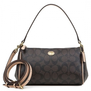 กระเป๋า COACH F52187 B4AQW PEYTON SIGNATURE TOP HANDLE POUCH CROSSBODY BAG