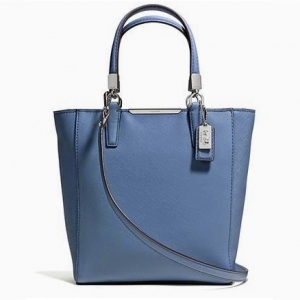กระเป๋า COACH Saffiano Leather Madison Mini N/S Tote, Light สีฟ้าคราม 29001 SV/CF