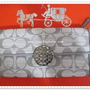 กระเป๋า COACH F49294 SGYGY Alexandra Shantung Slim Envelope Black / White Wal